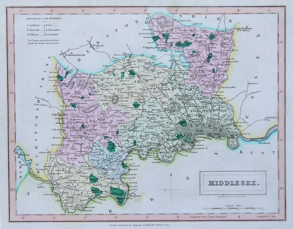 Middlesex antique map by Hall for sale