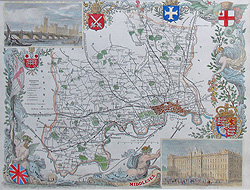 Antique Map of Middlesex by Thomas Moule for sale