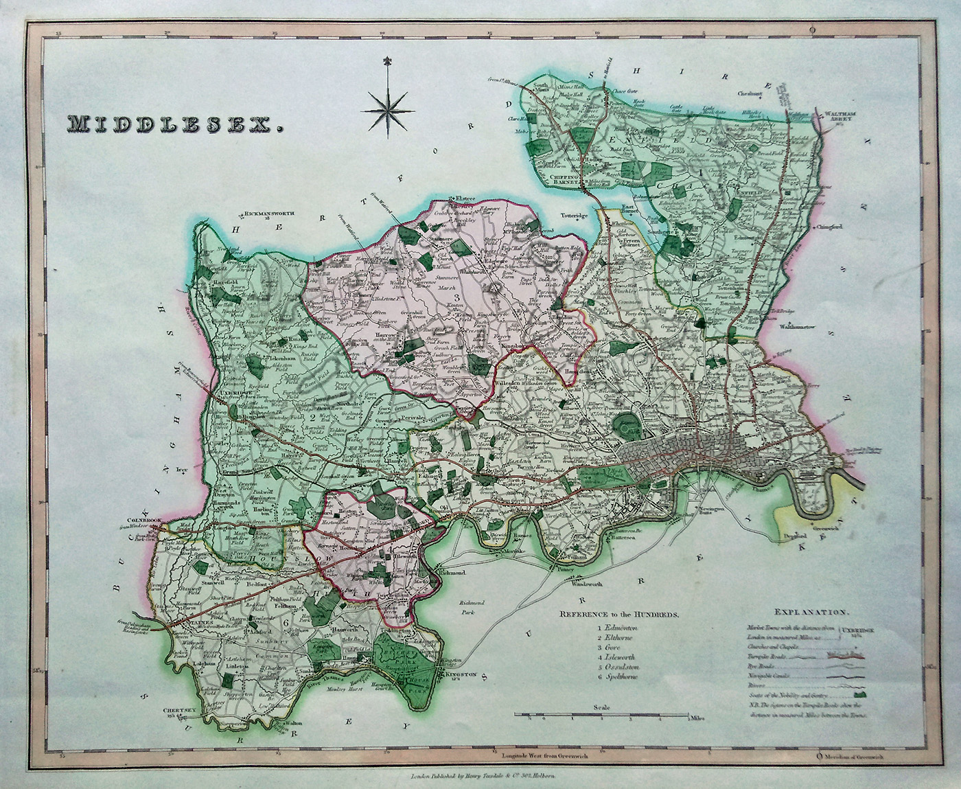 Antique Map Of Middlesex By Rowe And Teesdale