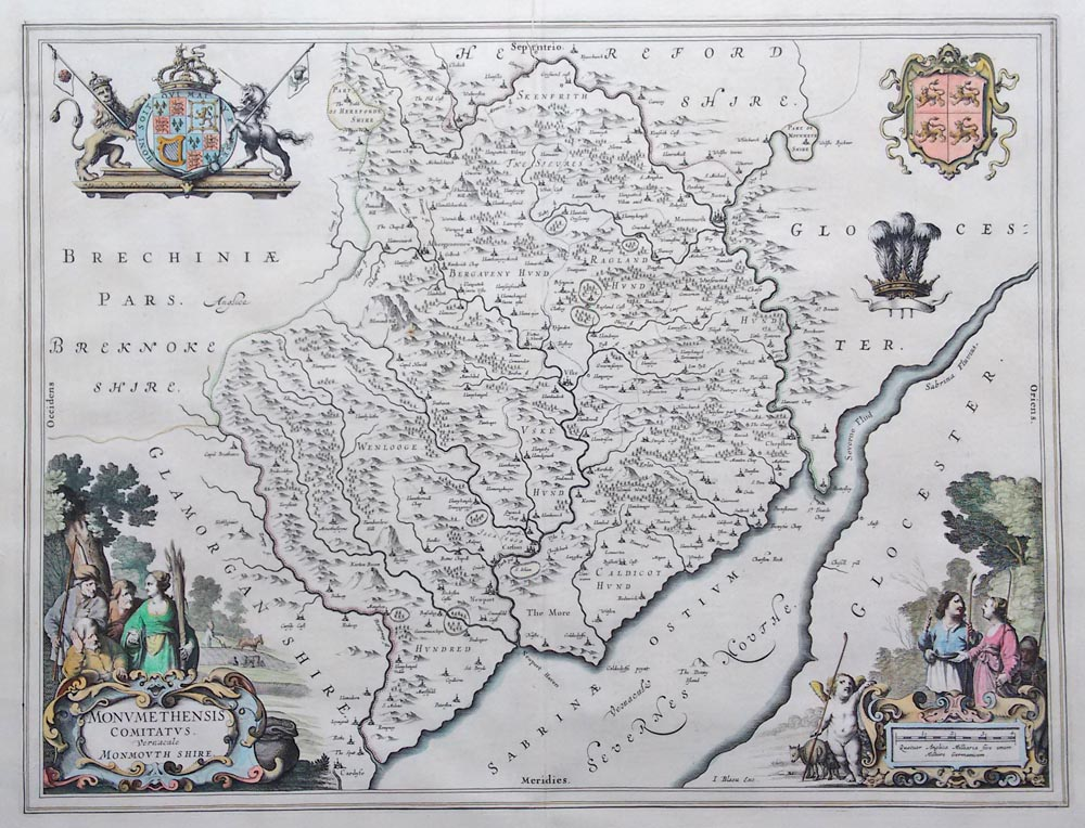 Monmouthshire map by Joan Blaeu circa 1645-48 for sale
