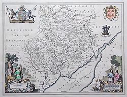 Monmouthshire map by Blaeu for sale