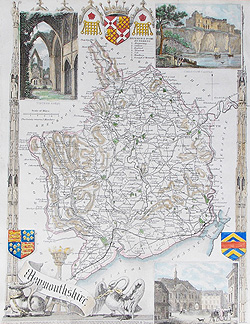 Monmouthshire map by Thomas Moule for sale