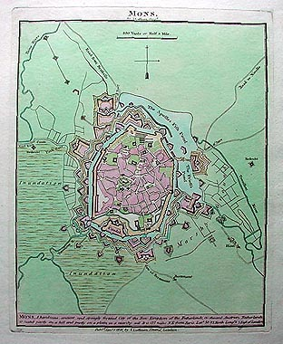 Antique town plan map of Mons