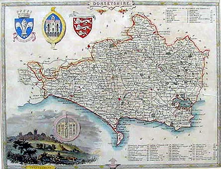 Antique Map of Dorset by Thomas Moule