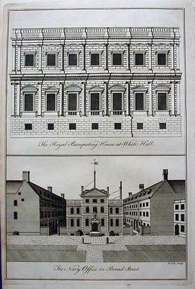 banqueting house whitehall - navy office antique print 1760