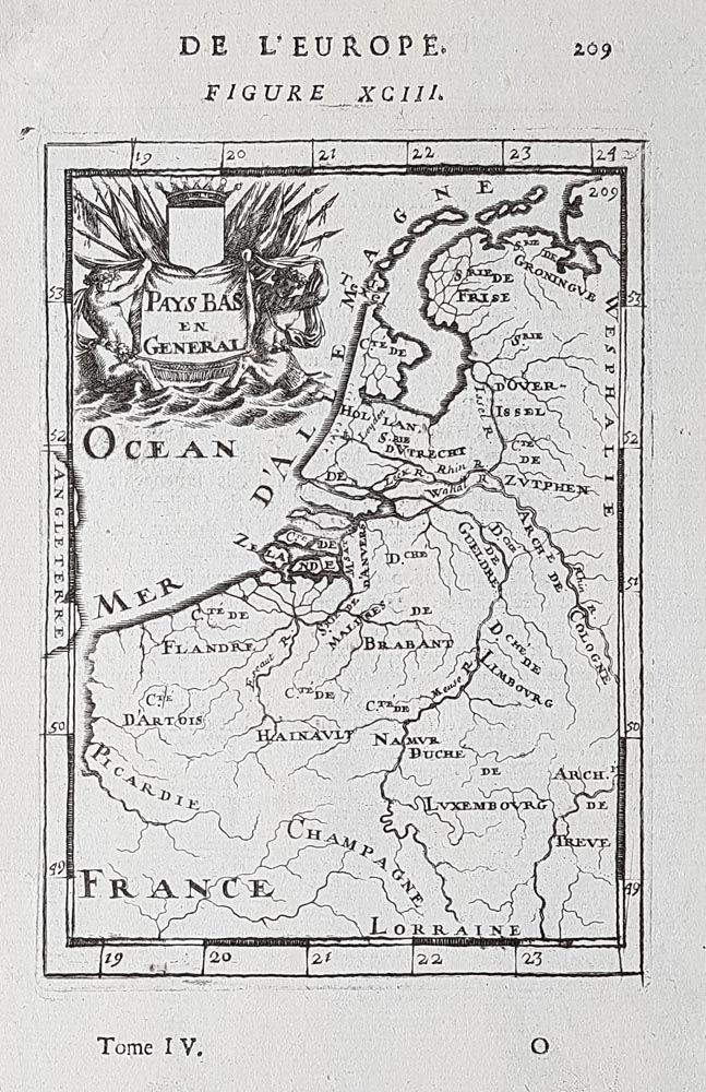 17th century map of Belgium and the Netherlands for sale  Mallet