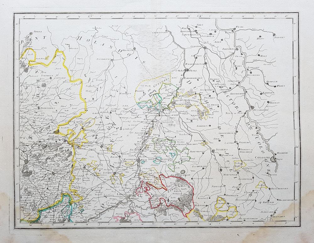 19th century map of belgium liege maastricht limbourg