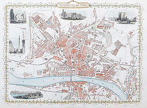 Antique Map of Newcastle on Tyne by rapkin and tallis for sale
