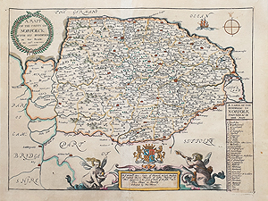 antique map of Norfolk by Richard Blome