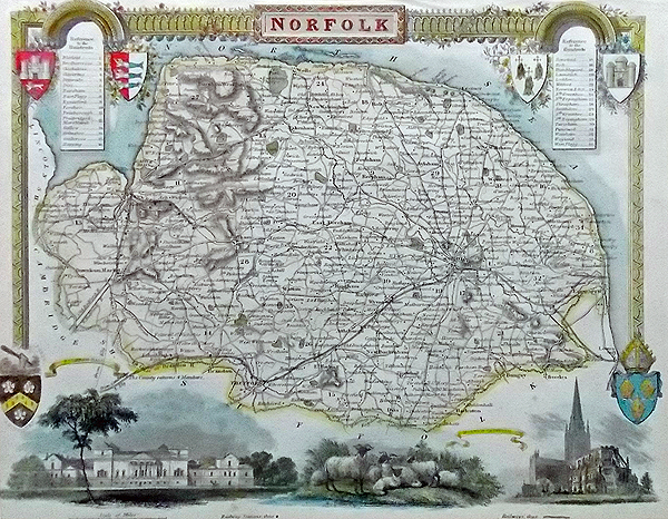 Decorative Victorian Map of Norfolk