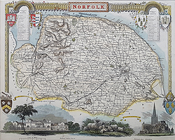 Thomas Moule map of Norfolk for sale