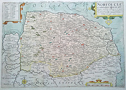 17th century antique map of Norfolk by John Kip after Saxton