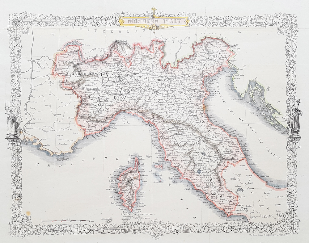 North Italy 19th Century Map John Rapkin John Tallis