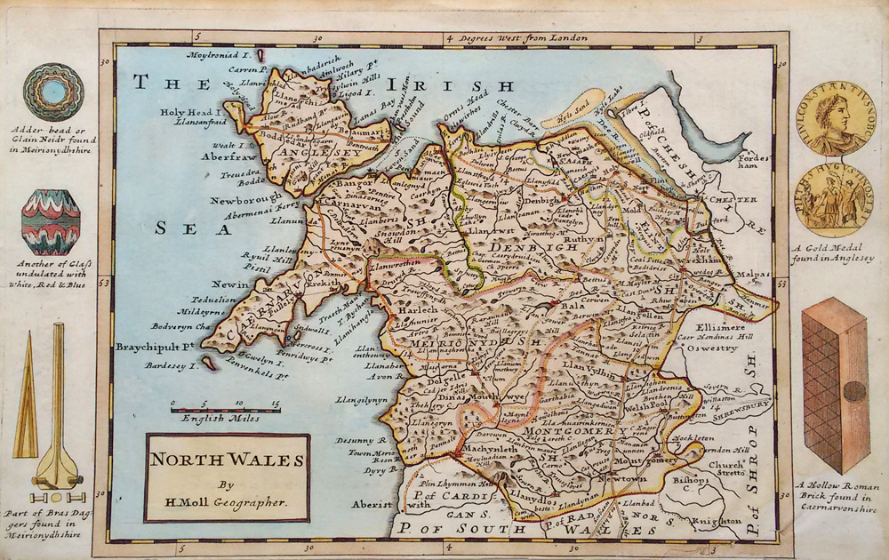 Antique map of North Wales by Moll