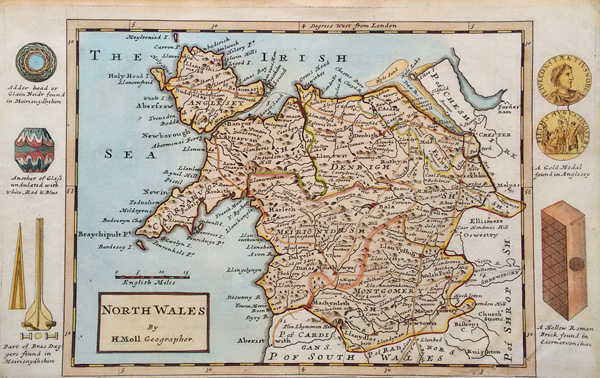 Herman Moll map of North Wales