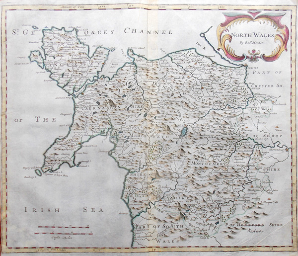 North Wales antique map