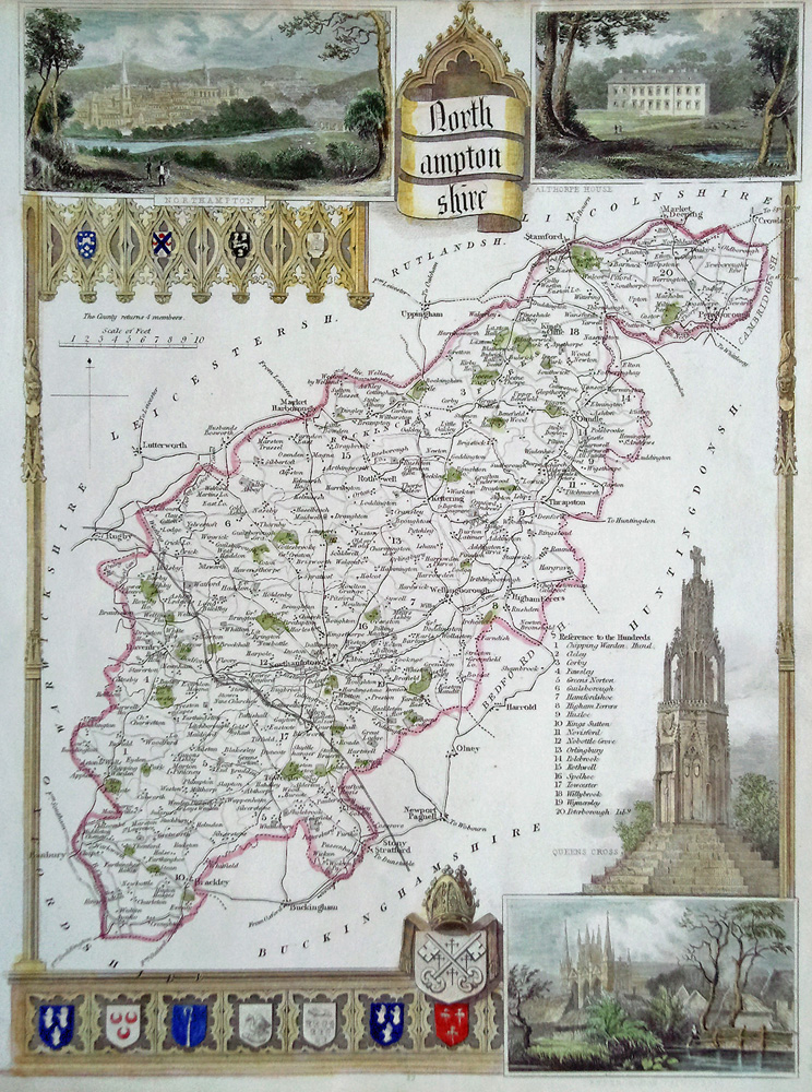 Thomas moule antique map of Northamptonshire for sale