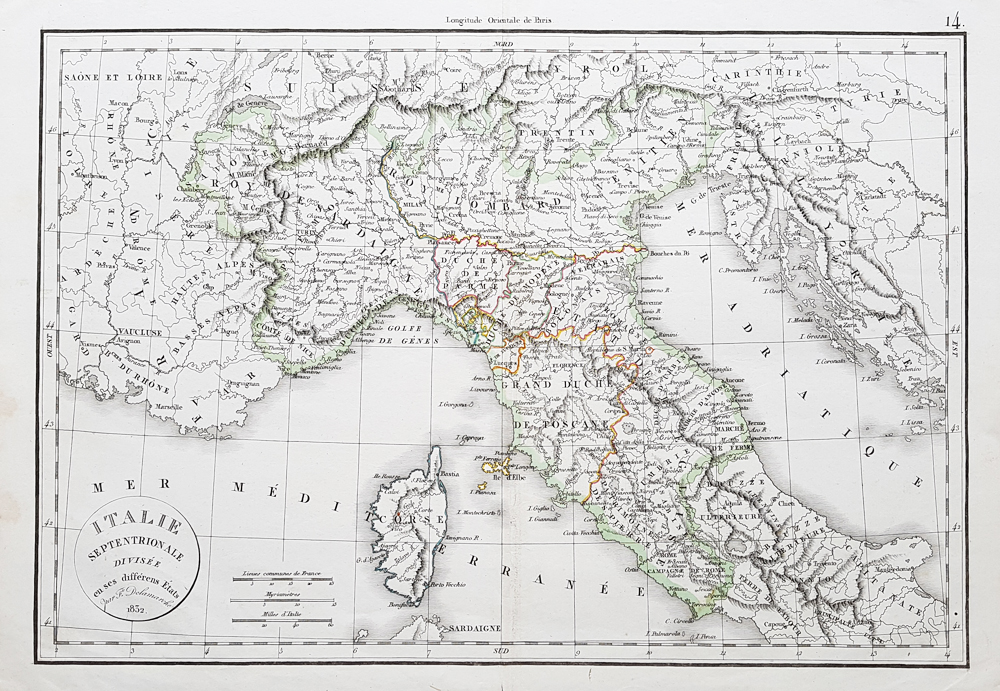 Antique map of north italy dated 1832 felix delamarche of northern italy featuring corsica gumiabroncs Image collections