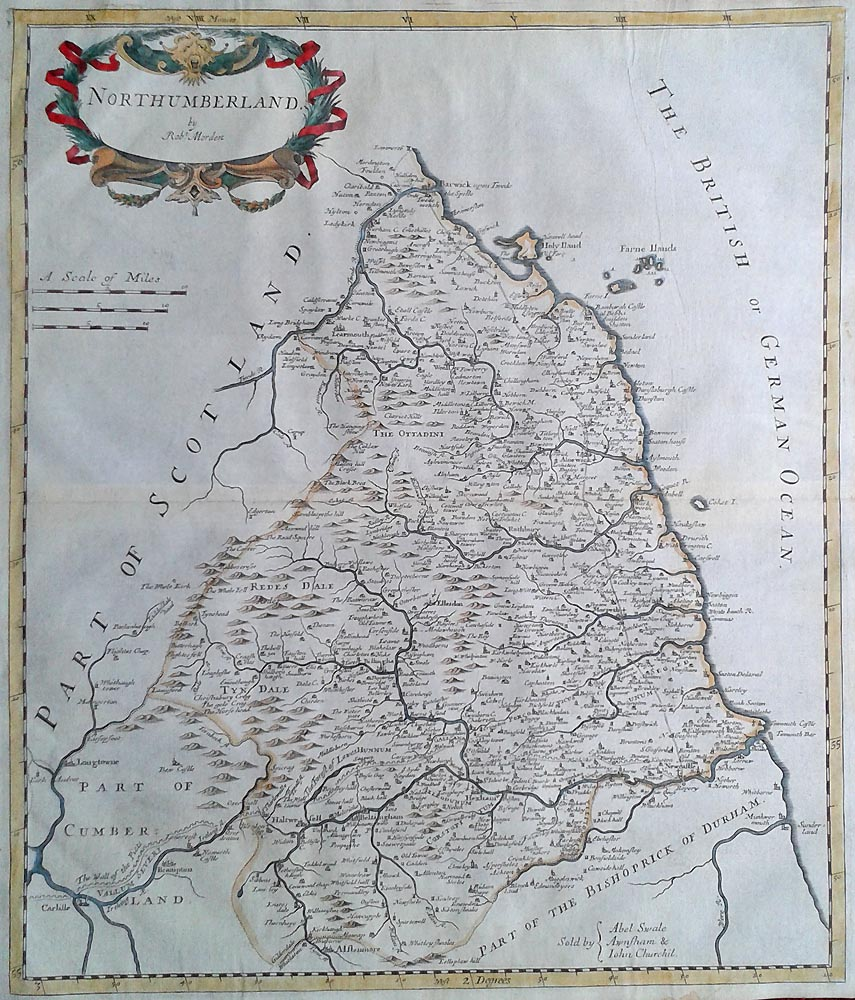 18th century map by Robert Morden of Northumberland
