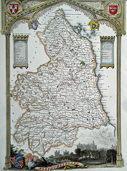 Northumberland antique map by Moule for sale