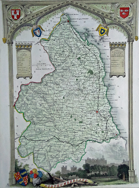 Antique Map of Northumberland by Thomas Moule
