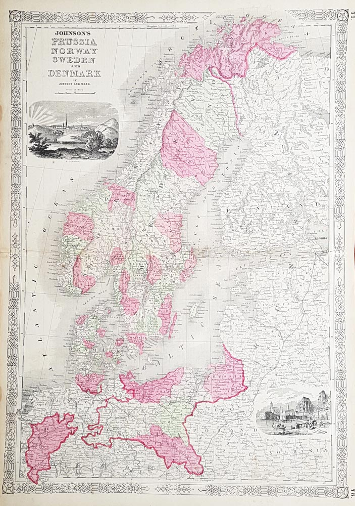Johnsons map of Sweden Norway Denmark and Sweden