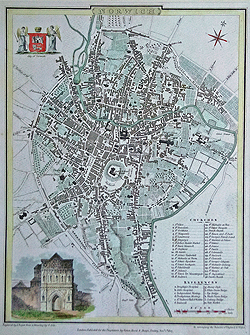 Antique town plan of Norwich 1807 for sale
