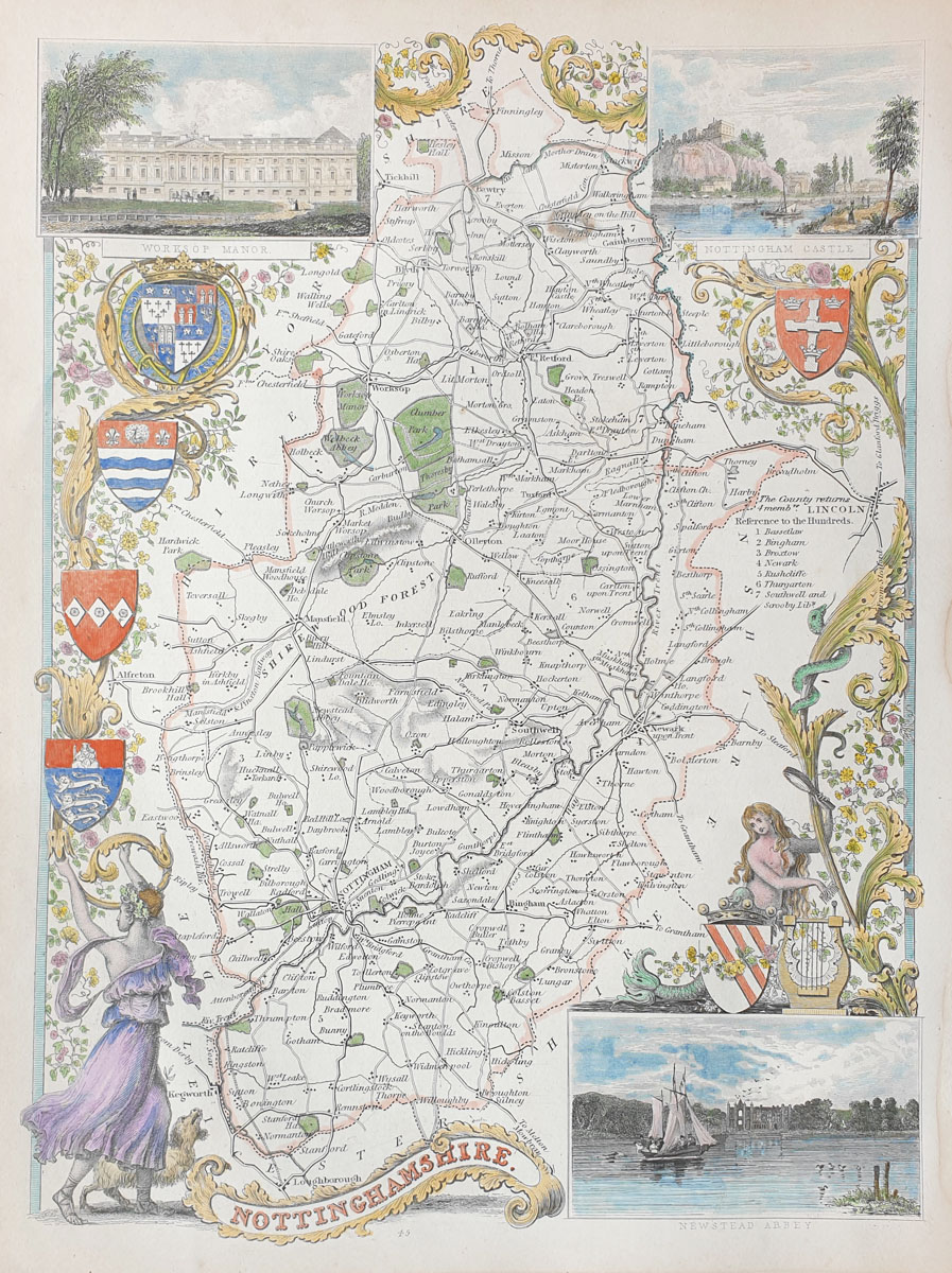 Old antique map nottinghamshire genuine 19th century antiques nottinghamshire antique map by thomas moule gumiabroncs Images
