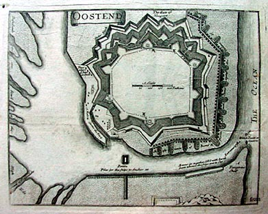 Antique map of Oostend