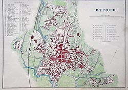 Oxfod antique city map by Cassells