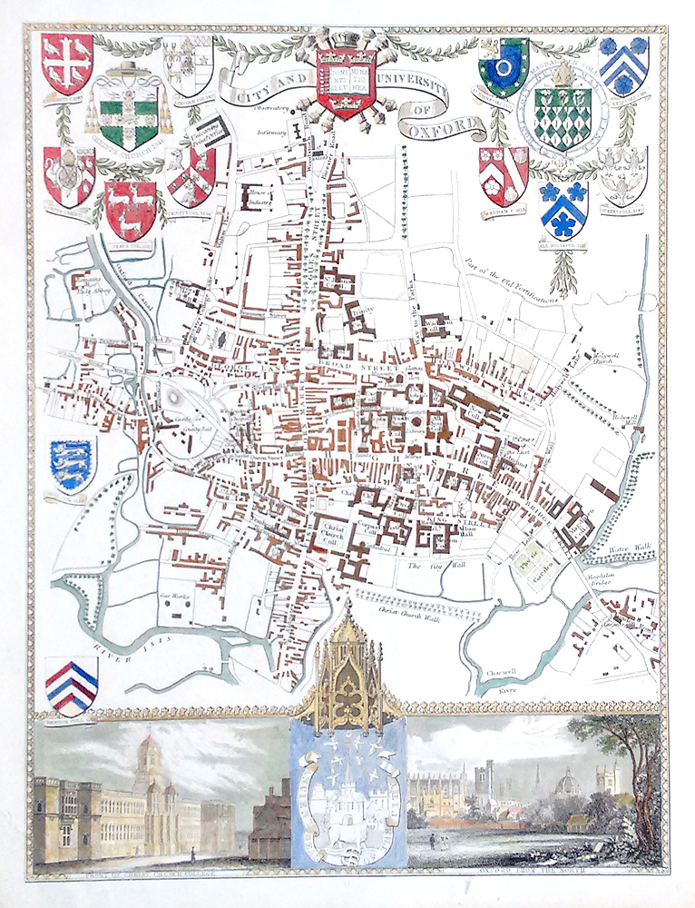 Oxford city antique map by Thomas Moule