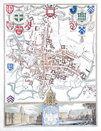 Antique Town Map of Oxford City by Thomas Moule