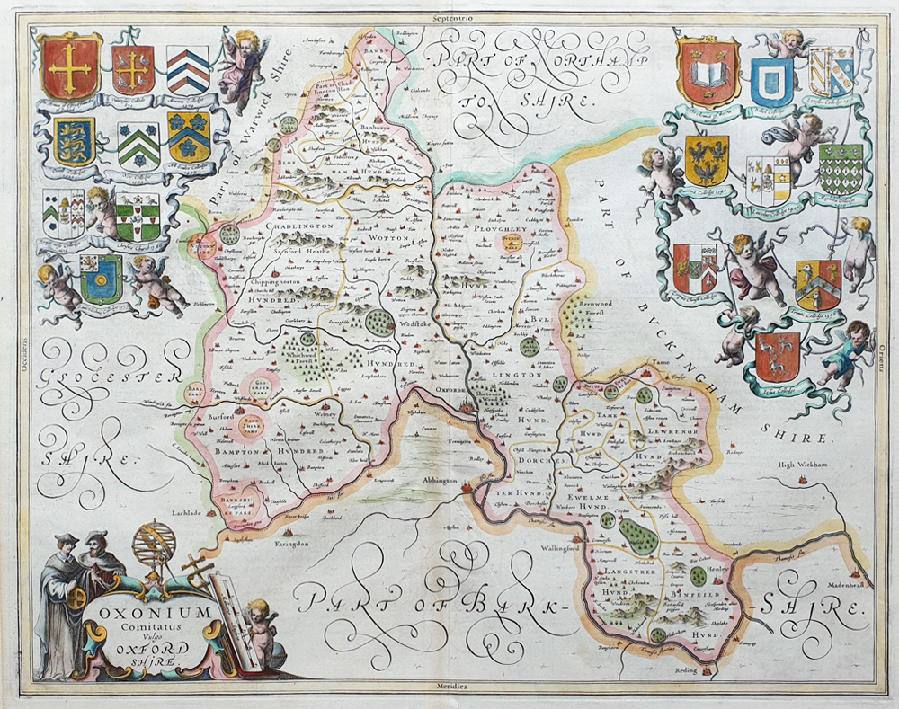 Oxfordshire 17th century map by Jan Jansson