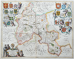 Oxfordshire antique map by Jansson for sale