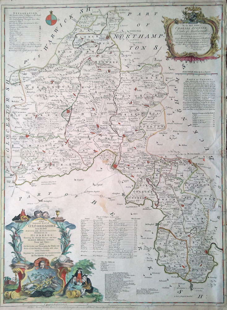 18th century map of Oxfordshire