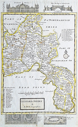Oxfordshire 18th century map by Moll for sale