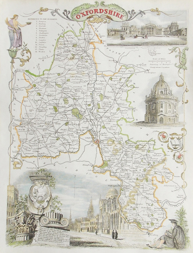 Oxfordshire antique map by Thomas Moule
