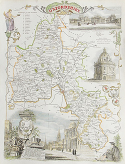 Oxfordshire antique map for sale by Thomas Moule