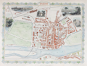 Antique City Map of Perth by rapkin and tallis for sale