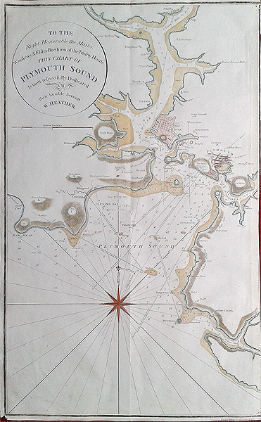 Antique Sea Chart Of Plymouth Sound And River Yealm Dated 1798