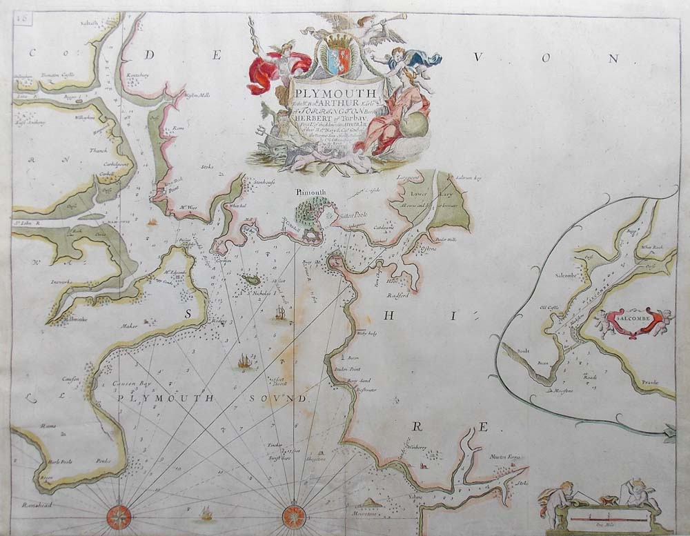 Capt Greenville Collins nautical sea chart of Plymouth