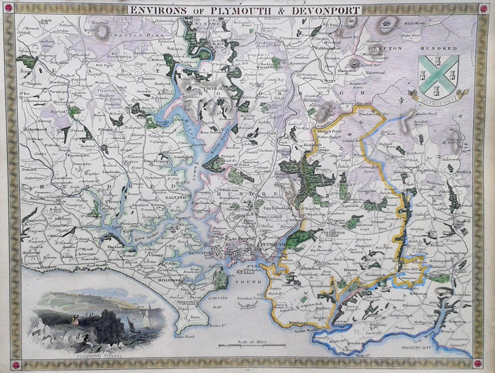 Antique map of Plymouth by Thomas Moule