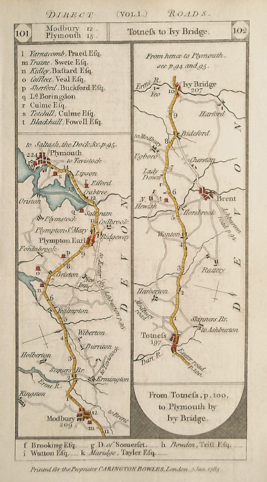 Antique Road Map Plymouth to Totnes