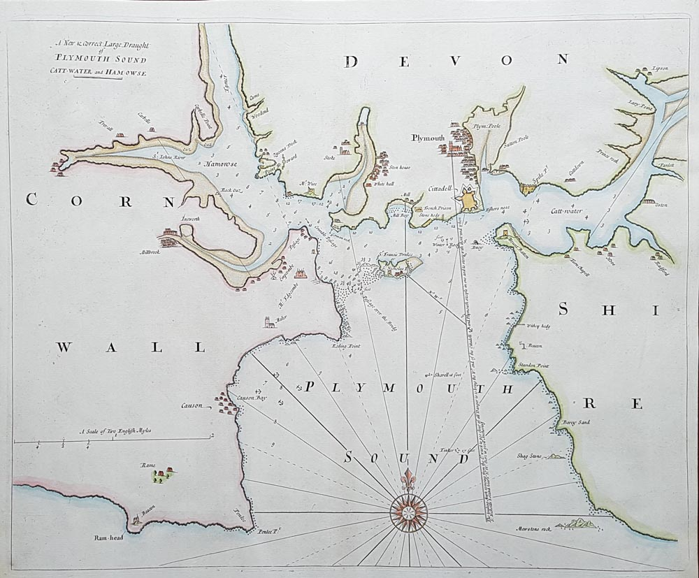 18th Century Sea Chart Plymouth Sound By Samuel Thornton