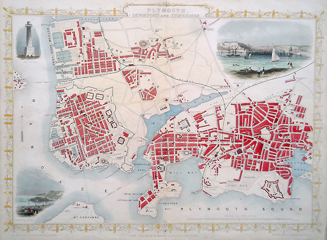Plymouth Town Map by Tallis
