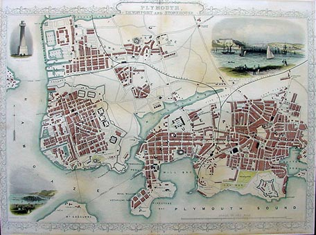 Plymouth Devonport and Stone house Antique Town Plan