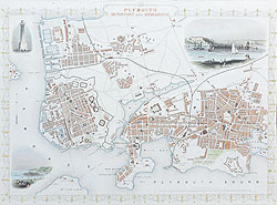 Antique Map of plymouth by rapkin and tallis for sale