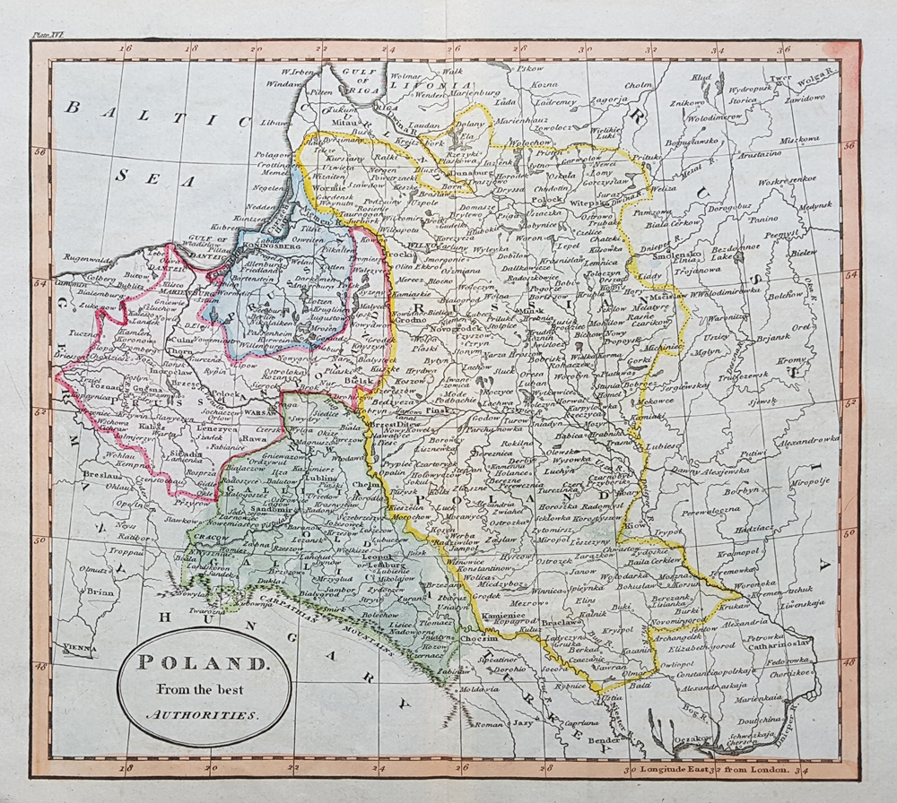 old map of Poland for sale