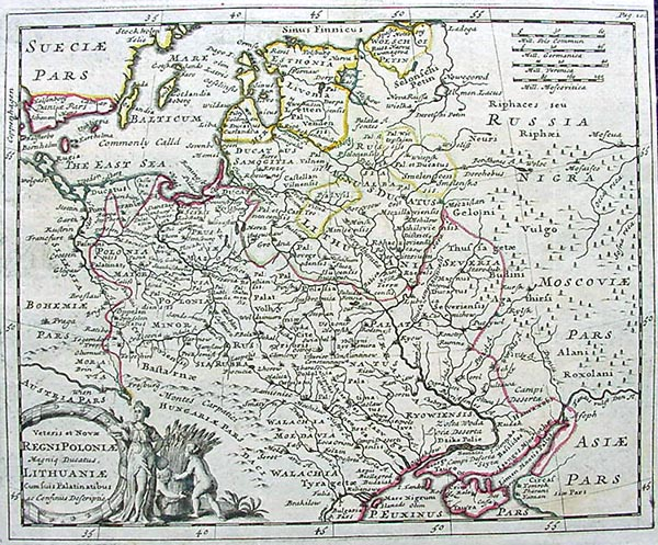 Poland and Lithuania by Philipp Cluver dated 1729