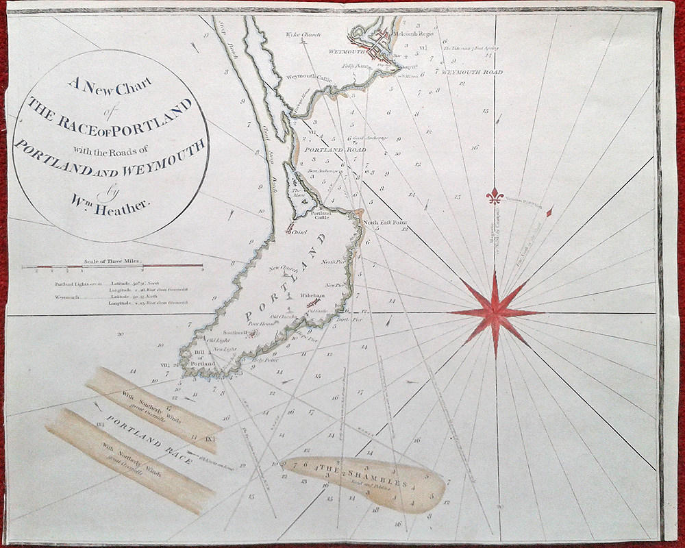 Antique Sea Chart Of Portland And Weymouth Dated 1798